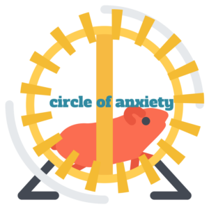 Hamster on wheel with freelancing circle of anxiety