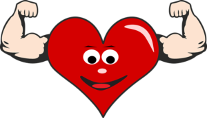 red heart with face and two muscular arms pumped up