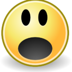 yellow emoticon with mouth open in surprise