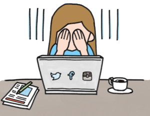 cartoon woman overwhelmed with hands over eyes in front of computer, coffee and notebook