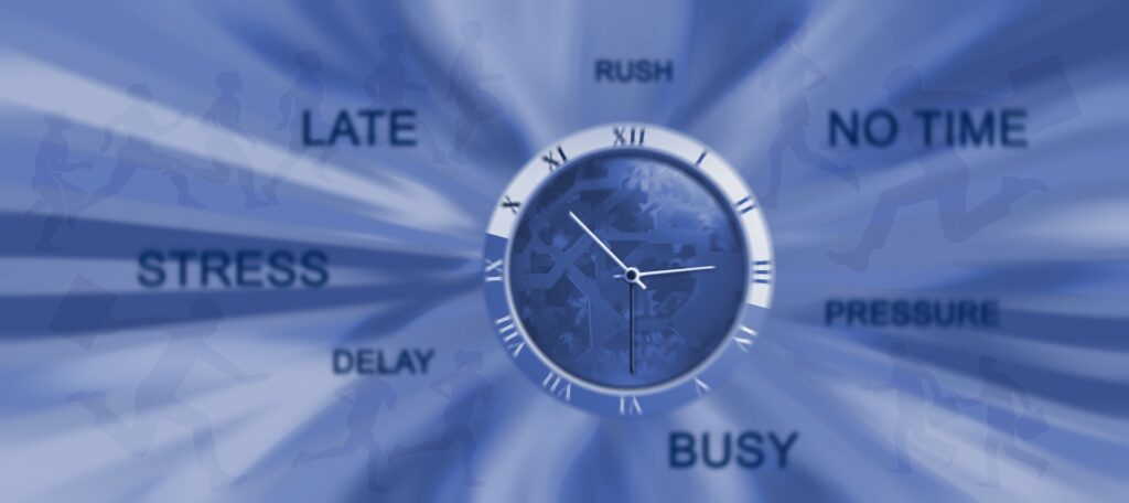 Stress shooting out of a clock showing overwhelm and stress.